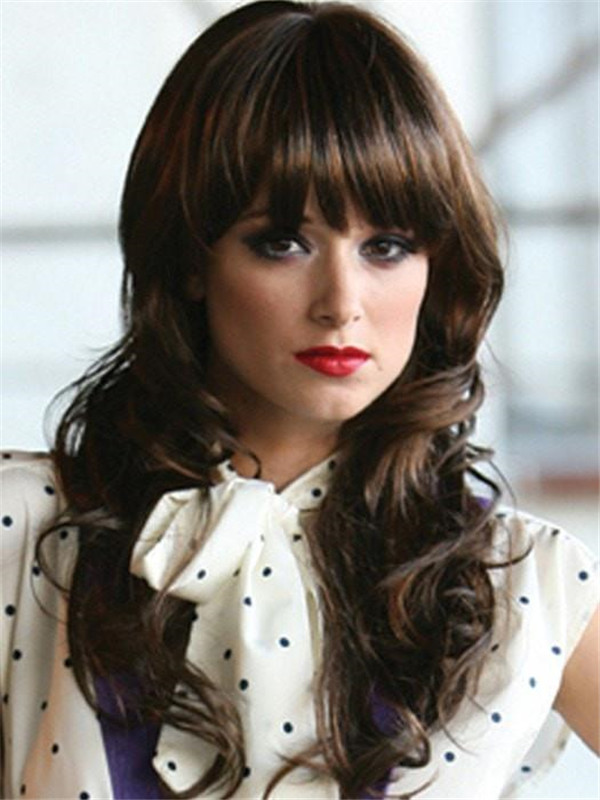Women's Long Wavy Cowgirl Synthetic Wig Basic Cap