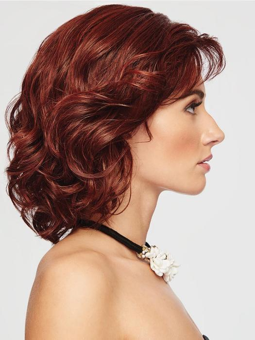 Women's Red Wavy Synthetic Lace Front Wig Mono Top Bob