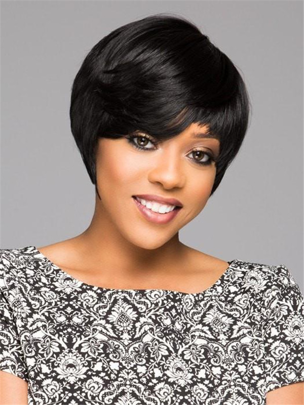 Women's Straight African American HF Synthetic Wig Basic Cap