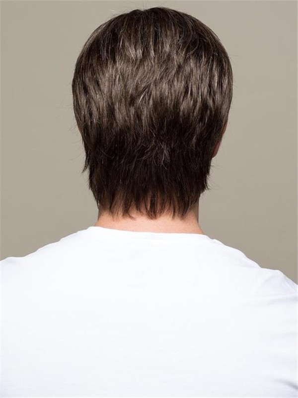 Short Men's Synthetic Lace Front Men's Wig Hand-Tied