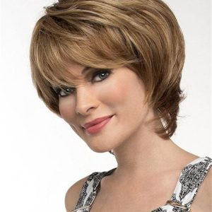Women's Short Straight Synthetic Wig Mono Top
