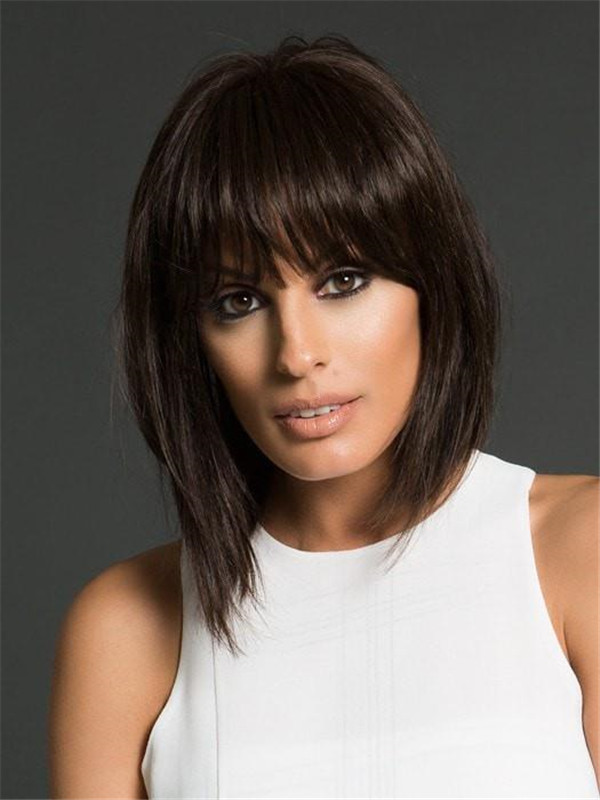 Rooted Human Hair Synthetic Blend Clip In Bangs Mono Base & Fringes