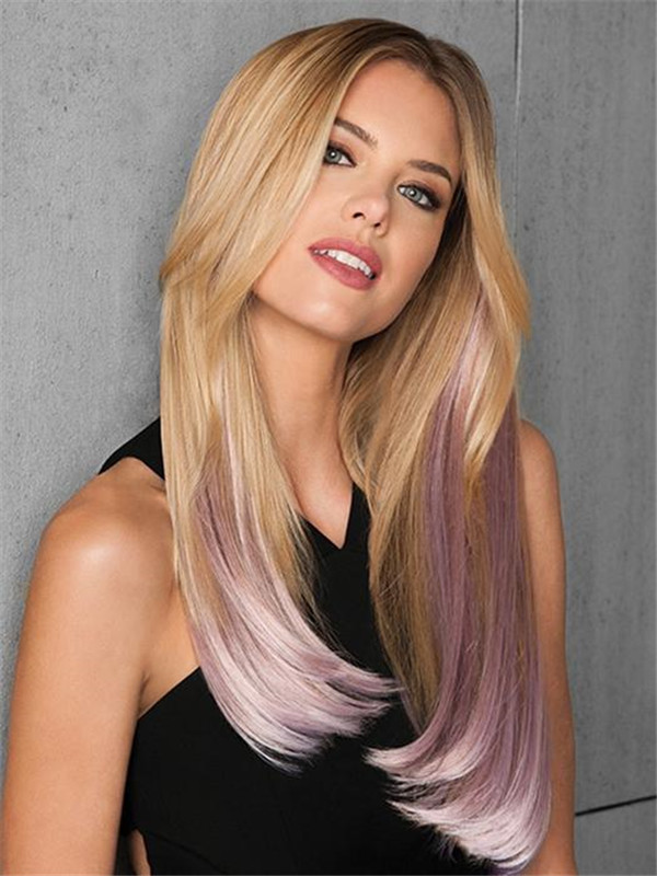 Hair Extensions Straight HF Synthetic Hair Extensions Kit 6 Piece Clip In Color