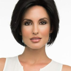 Short Straight Human Hair/ Synthetic Blend Wig Hand-Tied