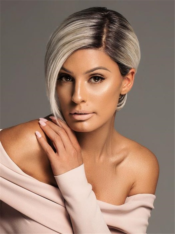 Short Layered Monofilament Human Hair Synthetic Blend Lace Front Wig Mono Top