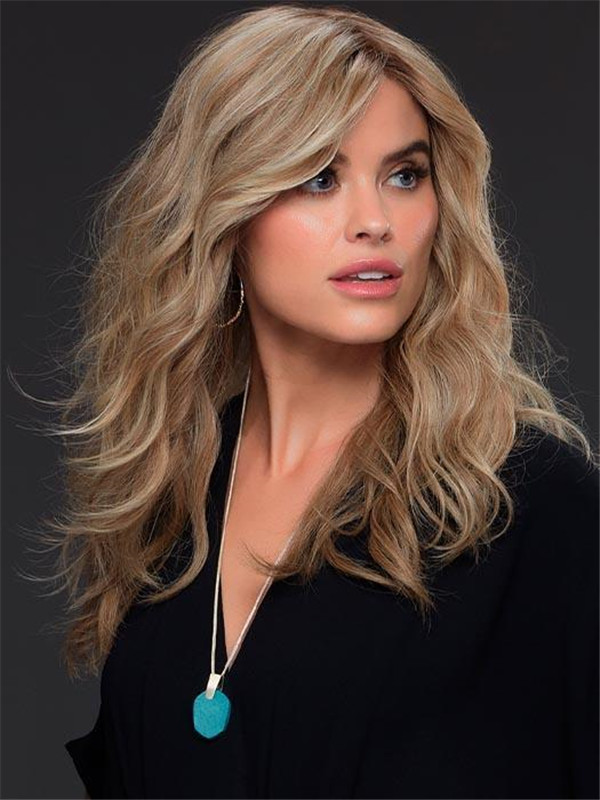 Wavy Rooted Remy Human Hair Lace Front Wig Hand-tied