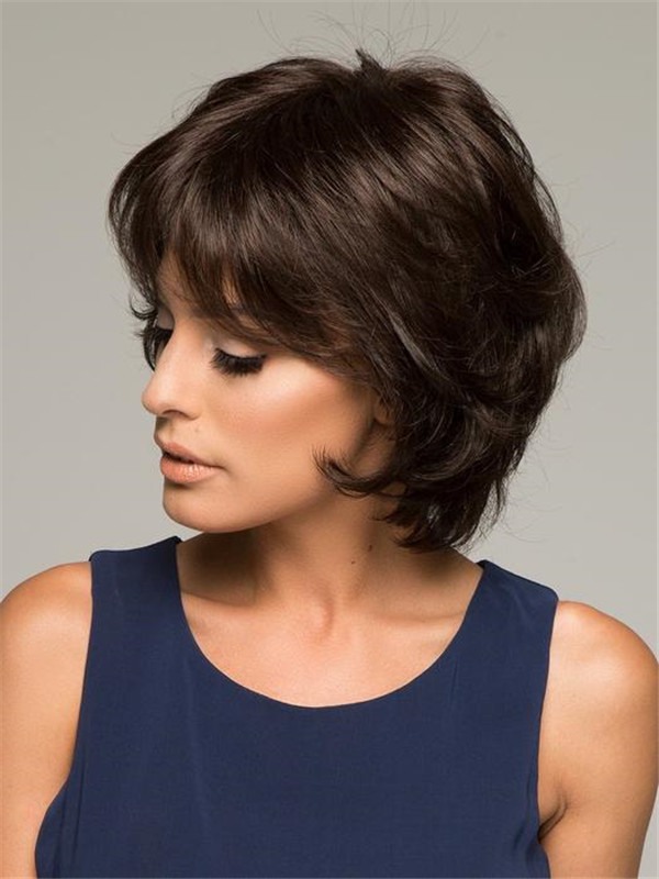 Short Wavy Synthetic Lace Front Wig Hand-tied