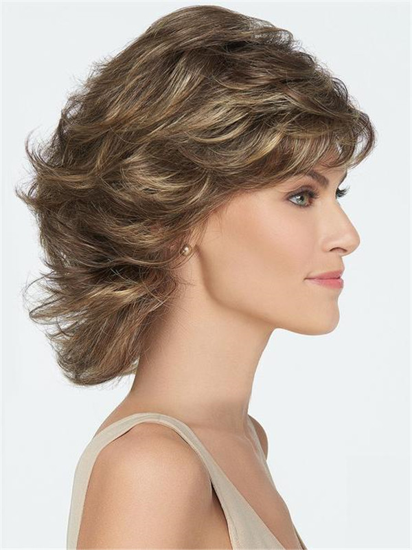 Short Straight Mid-length Synthetic Wig Basic Cap For Women