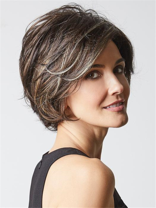 Short Layered Synthetic Lace Front Wig Mono Part For Women