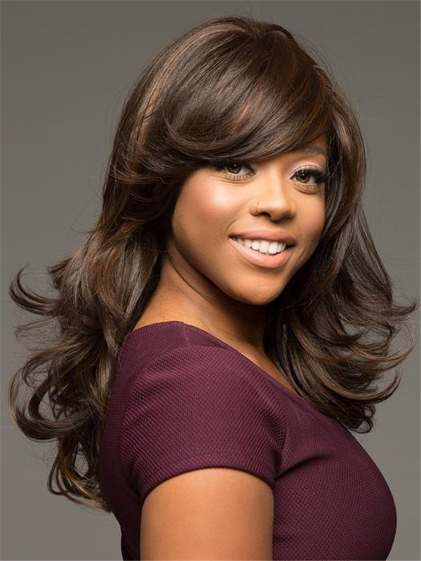 African American Long Straight Synthetic Wig Basic Cap