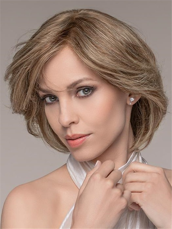 Straight Mid-length Brunette Remy Human Hair Lace Front Wig Hand-tied
