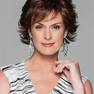 Short Layered Synthetic Lace Front Wig Mono Top For Women