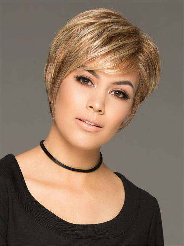 Short Layered Straight Synthetic Wig Basic Cap For Women