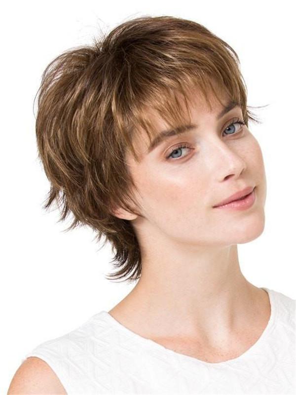 Short Straight Brunette Synthetic Wig Basic Cap For Women