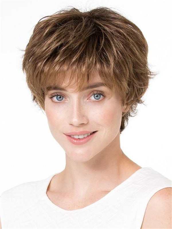 Straight Short Brunette Synthetic Wig Mono Crown