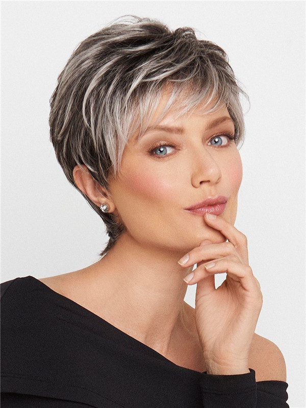 Straight Pixie Synthetic Lace Front Wig Mono Top For Women