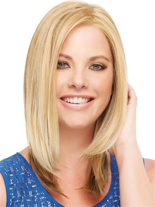 Mid-length Rooted Synthetic Lace Front Wig Mono Top