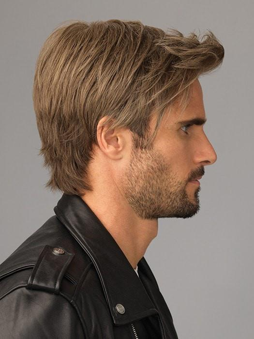 Men's Straight Synthetic Lace Front Wig Mono Crown