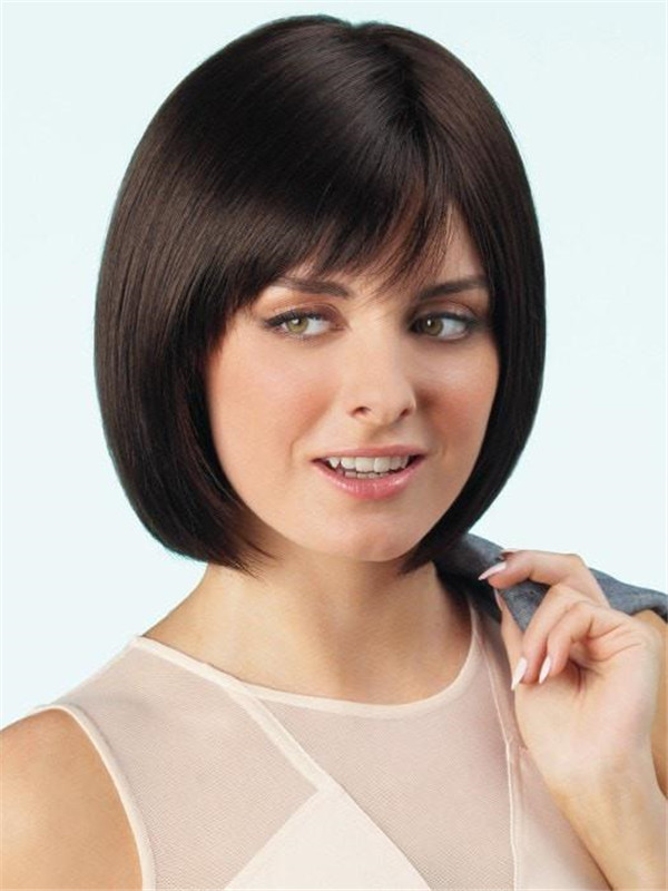 Short Straight Mid-Length Synthetic Wig Mono Top For Women
