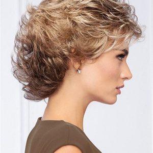 Short Wavy Brunette Wig Basic Cap For Women