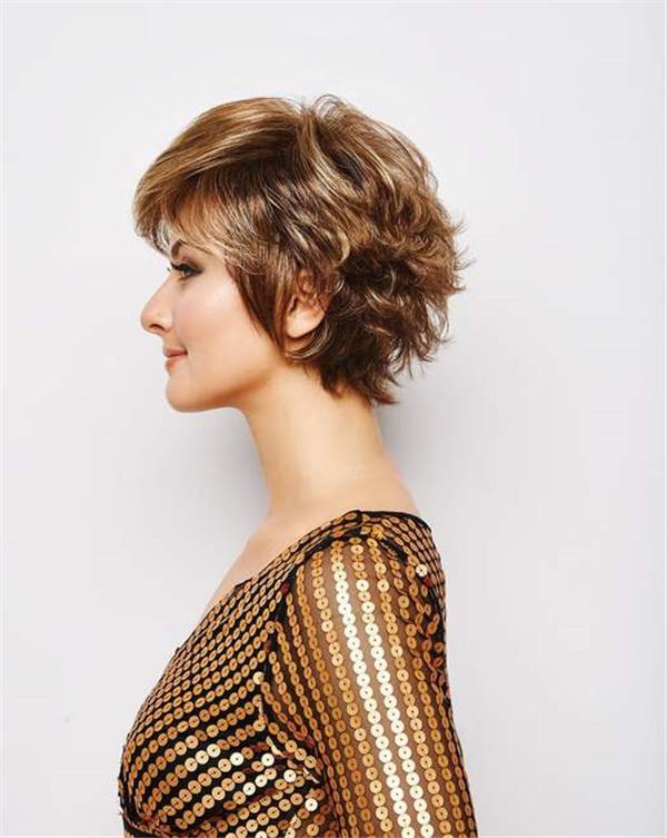 Straight Short Brunette Synthetic Wig Basic Cap For Women