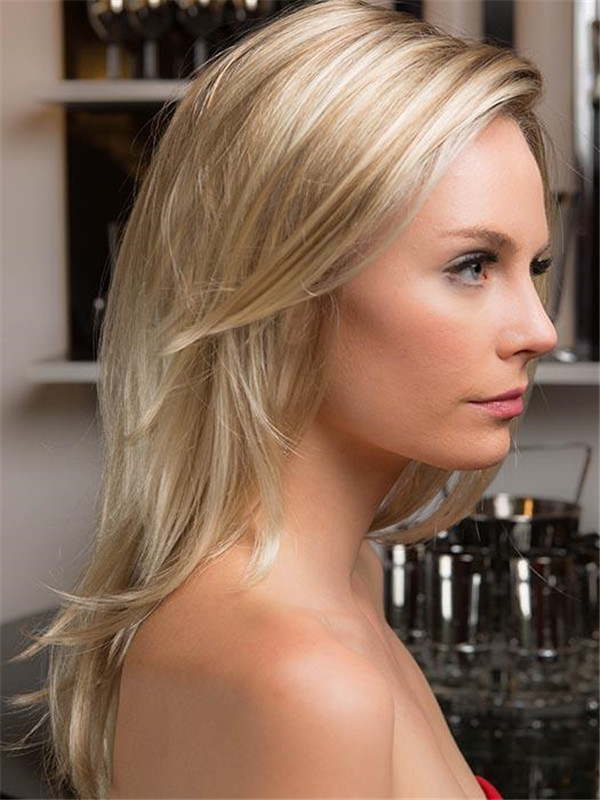 Long Straight Brunette Synthetic Lace Front Wig Mono Part Women