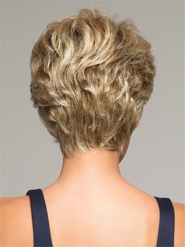 Short Rooted Synthetic Lace Front Wig Hand-tied