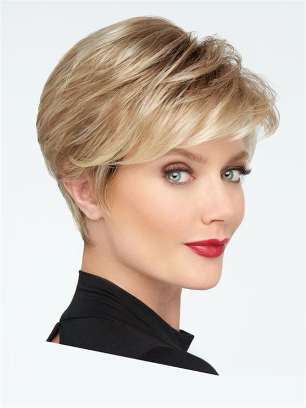 Short Straight Synthetic Lace Front Wig Mono Crown For Women