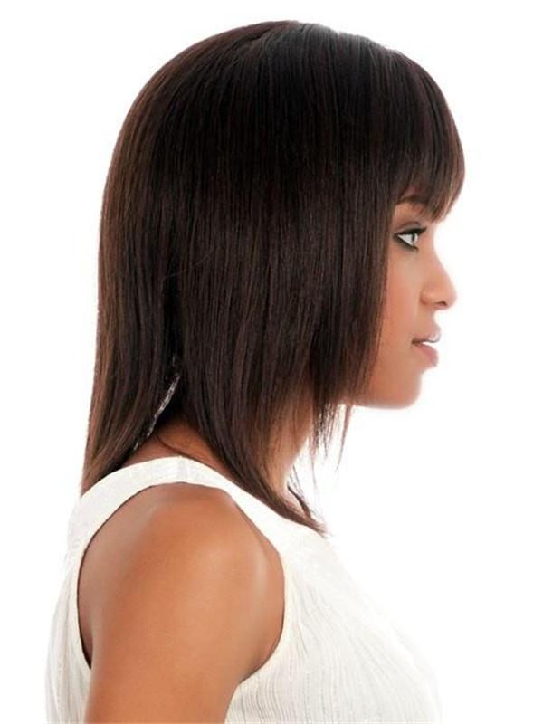 Mid-length Straight Human Hair Wig Center Skin Part