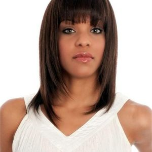 Mid-length Straight Human Hair Wig Center Skin Part