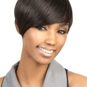 Straight African American Short Human Hair Wig Basic Cap For Women