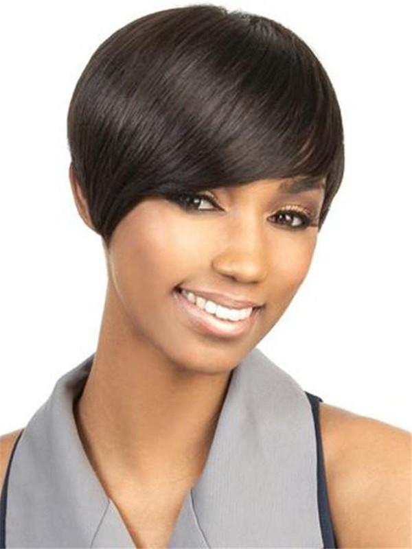 Straight African American Short Human Hair Wig Basic Cap For Women