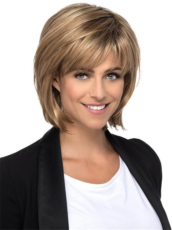 Straight Layered Rooted Synthetic Wig Basic Cap
