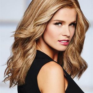 Long Straight Wavy Lace Front Human Hair Wig Mono Top For Women