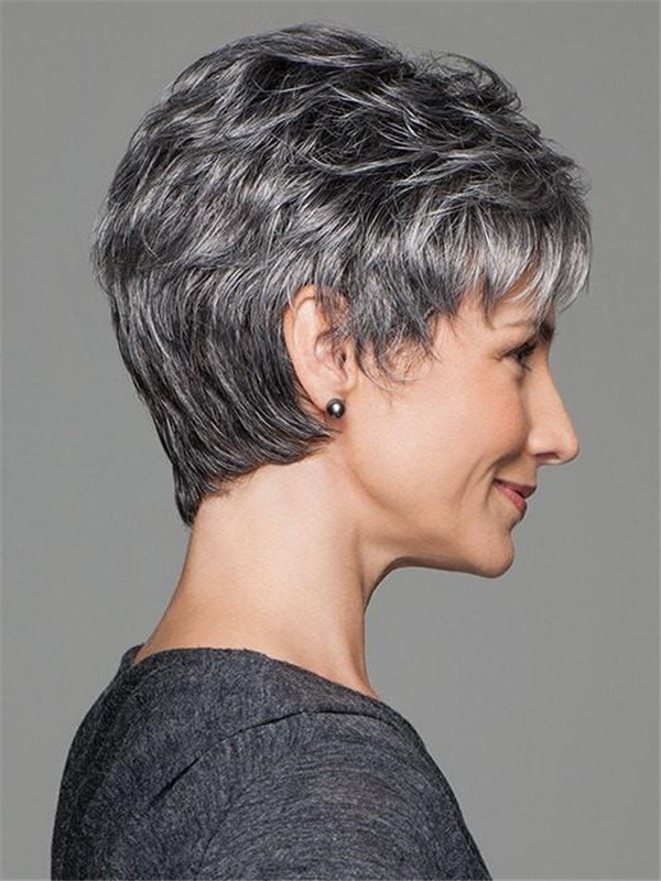 Straight Short Synthetic Wig Mono Top For Women