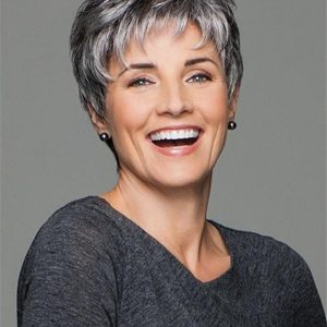 Short Pixie Synthetic Wig Mono Top For Women