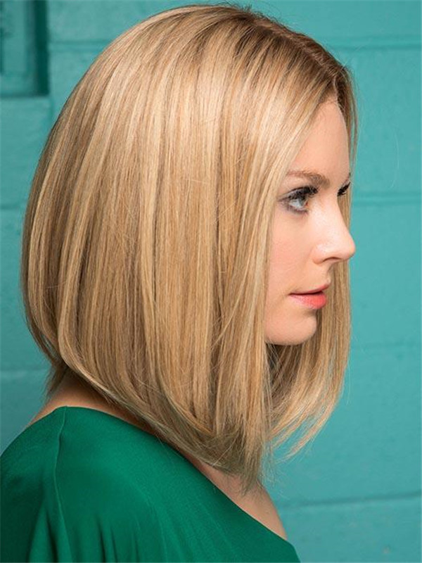 Short Straight Human Hair Lace Front Wig 100% Hand-tied For Women