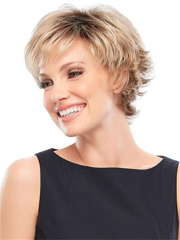 Women's Short Synthetic Wig Mono Top