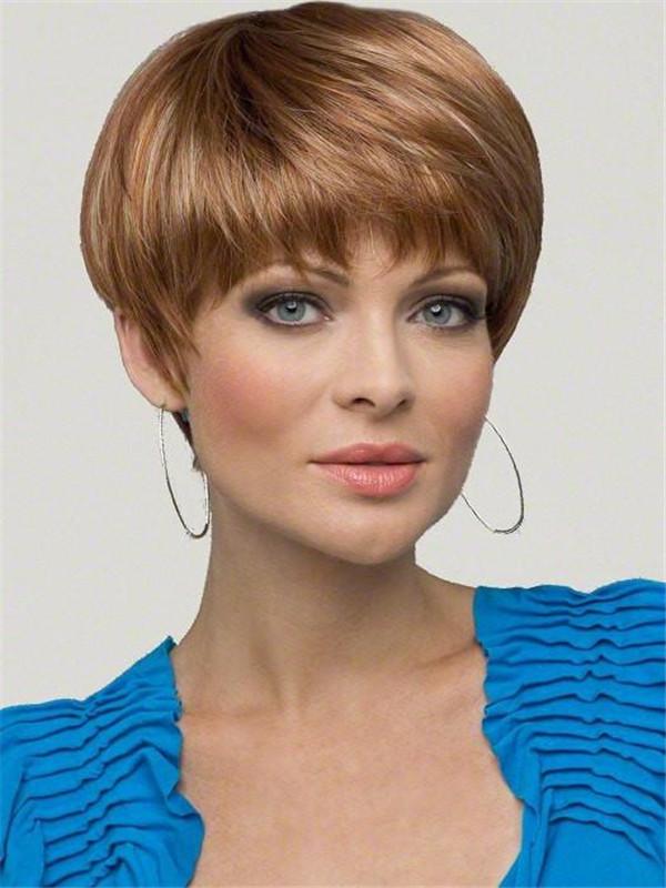 Short JoAnne Synthetic Wig Mono Top Brunette Wigs