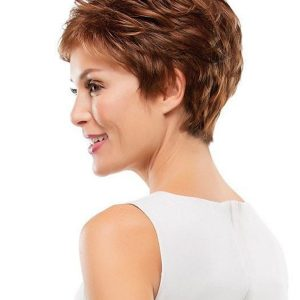 Short Brunette Synthetic Wig Basic Cap