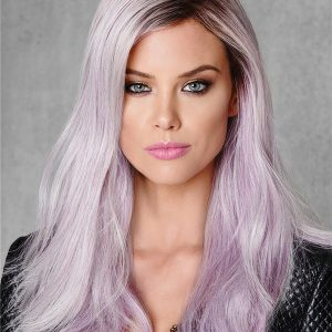 Long Colored Lilac Frost HF Synthetic Wig Basic Cap