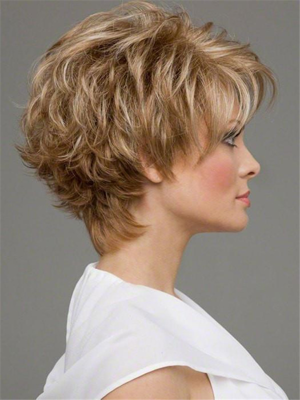 Short Monofilamen Synthetic Lace Front Wig Mono Top for Women