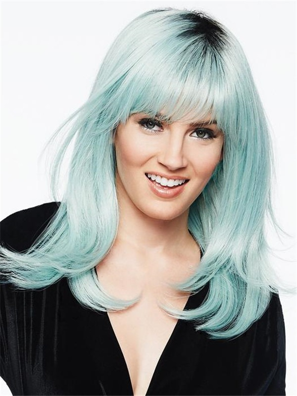 Mid-Length Rooted HF Synthetic Colored Wig Basic Cap