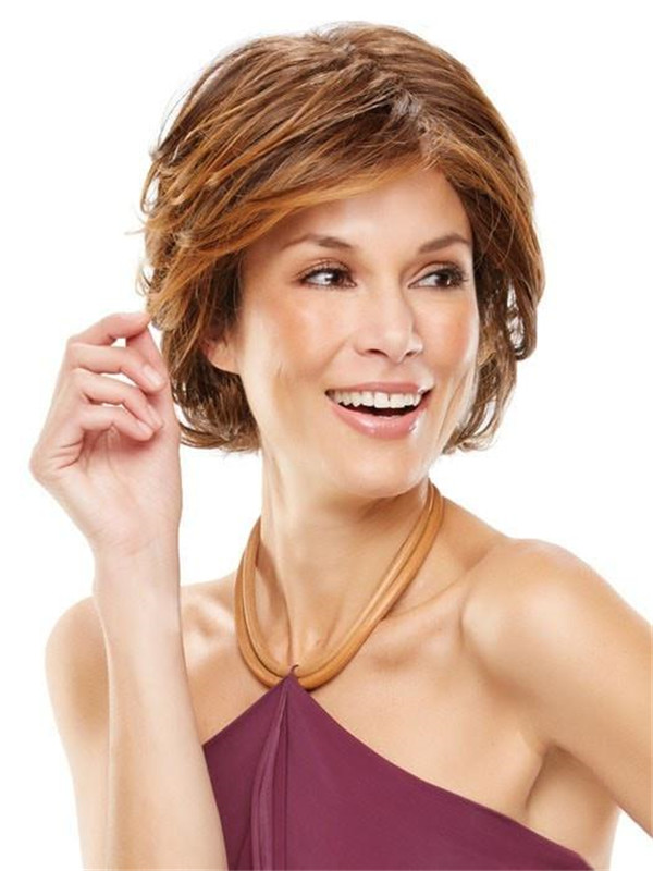 Straight Layered Hf Synthetic Lace Front Wig Mono Top