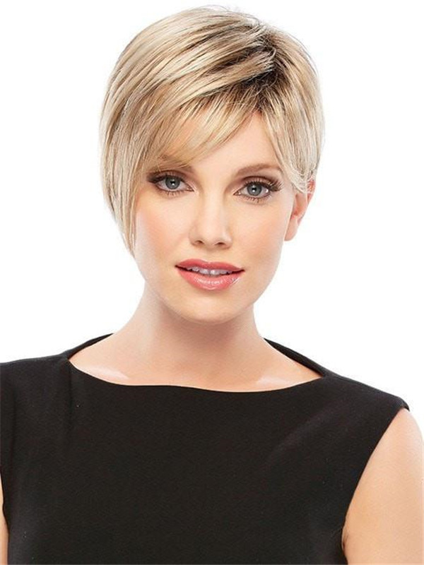 Short Rooted Synthetic Wig Basic Cap