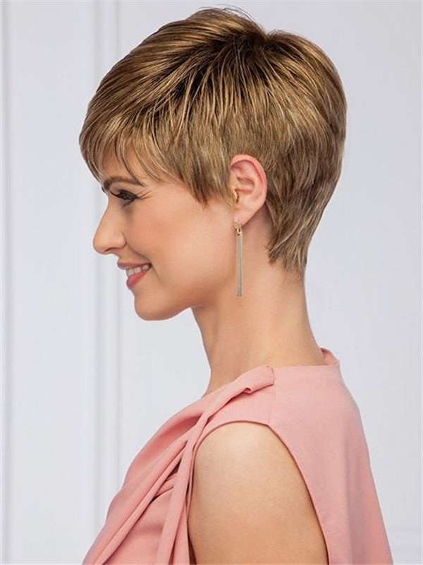 Short Brunette Synthetic Wig Mono Crown For Women