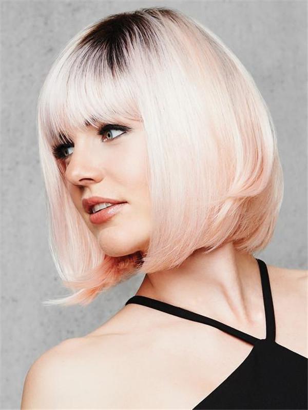 Short Straight Hf Synthetic Wig Basic Cap Women