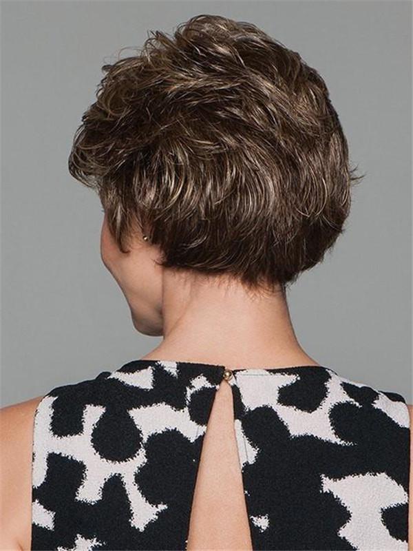 Straight Short Brunette Wig Basic Cap Women