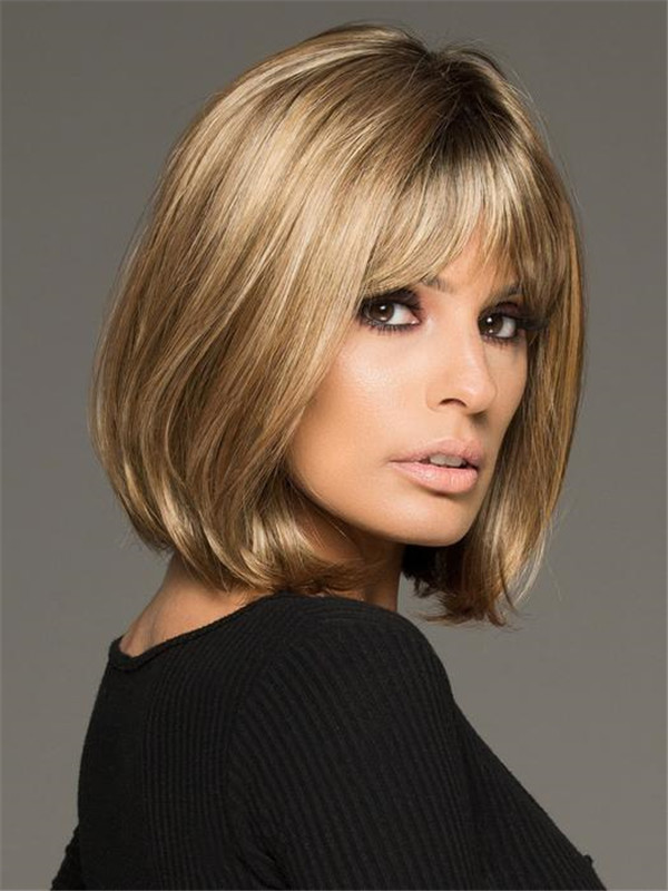 Straight Mid-length Paige Petite Synthetic Wig Mono Part For Women