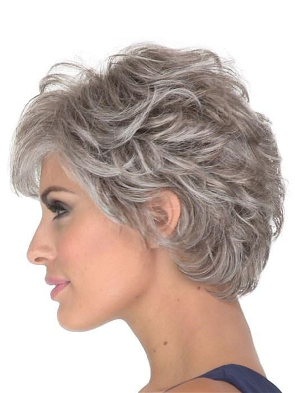 Short Brunette Synthetic Lace Front Wig Mono Top For Women